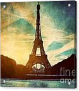 Eiffel Tower In Paris Fance In Retro Style Acrylic Print by Michal Bednarek