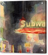 42nd Street Subway Watercolor Painting Of Nyc Acrylic Print by Beverly Brown Prints