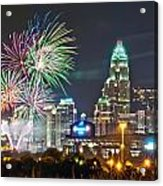 4th Of July Firework Over Charlotte Skyline Acrylic Print by Alex Grichenko