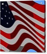 50 Star American Flag Closeup Abstract 6 Acrylic Print by L Brown