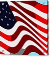 50 Star American Flag Closeup Abstract 7 Acrylic Print by L Brown