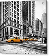 5th Avenue Yellow Cab Acrylic Print by John Farnan