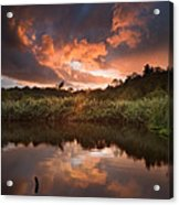 Beautiful Sunset Over Autumn Fall Lake With Crystal Clear Reflec Acrylic Print by Matthew Gibson