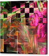 Abstract Checkered Pattern Fractal Flame Acrylic Print by Keith Webber Jr