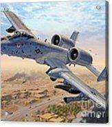 A-10 Over Baghdad Acrylic Print by Stu Shepherd