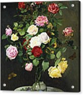 A Bouquet Of Roses In A Glass Vase By Wild Flowers On A Marble Table Acrylic Print by Otto Didrik Ottesen