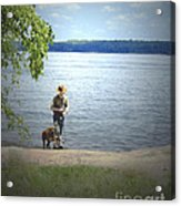 A Boy And His Dog Acrylic Print by Sandra Clark