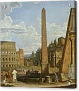 A Capriccio View Of Roman Ruins, 1737 Acrylic Print by Giovanni Paolo Pannini or Panini