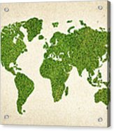 World Grass Map Acrylic Print by Aged Pixel