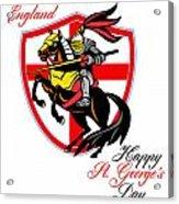 A Day For England Happy St George Day Retro Poster Acrylic Print by Aloysius Patrimonio