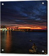 a flaming sunset at Tel Aviv port Acrylic Print by Ron Shoshani