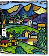 A Folksy Swiss Town Acrylic Print by Monica Engeler