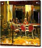 A French Cafe And Friends Acrylic Print by Michael Swanson