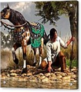 A Hunter And His Horse Acrylic Print by Daniel Eskridge