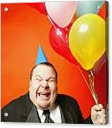 A Man With Balloons Acrylic Print by Darren Greenwood