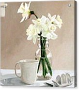 A Pint Of Daffodils Acrylic Print by Sandra Chase