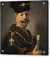 A Polish Nobleman Acrylic Print by Rembrandt