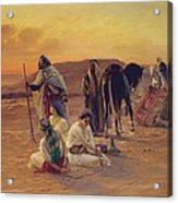 A Rest In The Desert Acrylic Print by Otto Pilny