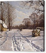 A Sleigh Ride Through A Winter Landscape Acrylic Print by Peder Monsted