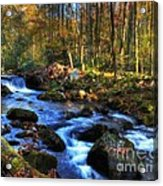 A Smoky Mountain Autumn Acrylic Print by Mel Steinhauer