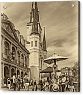 A Sunny Afternoon In Jackson Square Sepia Acrylic Print by Steve Harrington