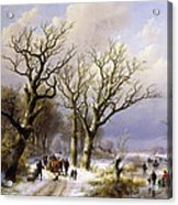 A Wooded Winter Landscape With Figures Acrylic Print by Verboeckhoven and Klombeck