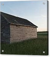 A Wooden Shed In The Middle Of A Grass Acrylic Print by Keith Levit