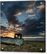 Abandoned Fishing Boat Sunset Landscape Digital Painting Acrylic Print by Matthew Gibson