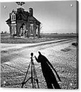 Abandoned School House And My Shadow Circa 1985 Acrylic Print by John Hanou
