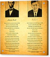 Abraham Lincoln And John F Kennedy Presidential Similarities And Coincidences Conspiracy Theory Fun Acrylic Print by Design Turnpike
