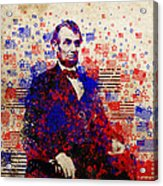 Abraham Lincoln With Flags Acrylic Print by Bekim Art