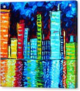Abstract Art Landscape City Cityscape Textured Painting City Nights II By Madart Acrylic Print by Megan Duncanson