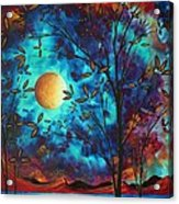 Abstract Art Landscape Tree Blossoms Sea Moon Painting Visionary Delight By Madart Acrylic Print by Megan Duncanson