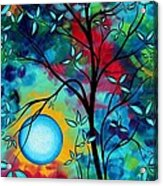 Abstract Art Landscape Tree Blossoms Sea Painting Under The Light Of The Moon I  By Madart Acrylic Print by Megan Duncanson