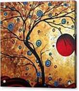 Abstract Art Landscape Tree Metallic Gold Texture Painting Free As The Wind By Madart Acrylic Print by Megan Duncanson