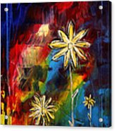 Abstract Art Original Daisy Flower Painting Visual Feast By Madart Acrylic Print by Megan Duncanson