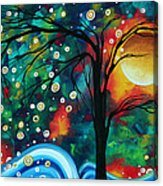Abstract Art Original Landscape Painting Bold Circle Of Life Design Dance The Night Away By Madart Acrylic Print by Megan Duncanson