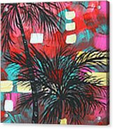 Abstract Art Original Tropical Landscape Painting Fun In The Tropics By Madart Acrylic Print by Megan Duncanson