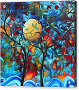 Abstract Contemporary Colorful Landscape Painting Lovers Moon By Madart Acrylic Print by Megan Duncanson