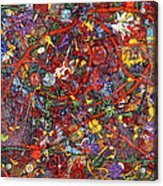 Abstract - Fabric Paint - Sanity Acrylic Print by Mike Savad