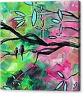 Abstract Landscape Bird And Blossoms Original Painting Birds Delight By Madart Acrylic Print by Megan Duncanson