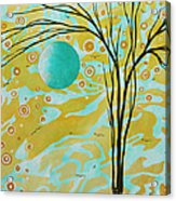 Abstract Landscape Painting Animal Print Pattern Moon And Tree By Madart Acrylic Print by Megan Duncanson