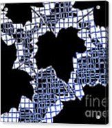 Abstract Leaf Pattern - Black White Blue Acrylic Print by Natalie Kinnear