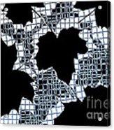 Abstract Leaf Pattern - Black White Light Blue Acrylic Print by Natalie Kinnear