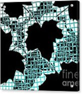 Abstract Leaf Pattern - Black White Turquoise Acrylic Print by Natalie Kinnear