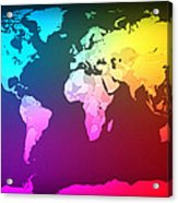 Abstract Map Of The World Acrylic Print by Michael Tompsett