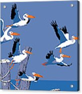 abstract Pelicans seascape tropical pop art nouveau 1980s florida birds large retro painting  Acrylic Print by Walt Curlee