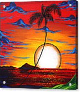 Abstract Surreal Tropical Coastal Art Original Painting Tropical Resonance By Madart Acrylic Print by Megan Duncanson