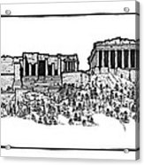 Acropolis Of Athens Acrylic Print by Calvin Durham