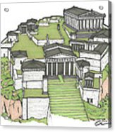 Acropolis Of Athens Restored Acrylic Print by Calvin Durham